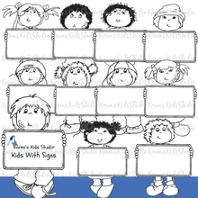 Load image into Gallery viewer, CLIP ART KIDS WITH SIGNS (Karen's Kids Clipart)