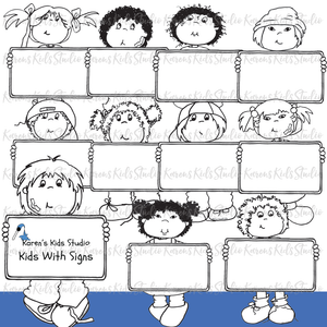 CLIP ART KIDS WITH SIGNS (Karen's Kids Clipart)