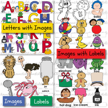"Load image into Gallery viewer, Samples of the 4 colorful sets of letter recognition activities in this set: letters with images, such as baby and beach ball by b; images with labels, such as a cat above a cat label; and a ""match the picture to the label exercise, including key, lion, jar and more."