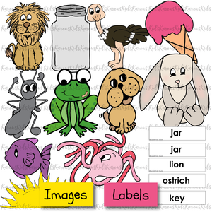 Samples of full color clip art images and labels to match them, including fish, rabbit and more