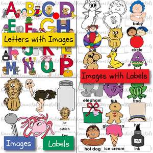 "Samples of the 4 colorful sets of letter recognition activities in this set: letters with images, such as baby and beach ball by b; images with labels, such as a cat above a cat label; and a ""match the picture to the label exercise, including key, lion, jar and more."