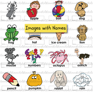 Full color clip Art images of illustrations representing a letter of the alphabet: ant standing above ant label, apple above apple label, etc..