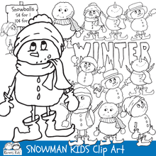 Load image into Gallery viewer, Black and white clip Art samples from  Karen's Kids SNOWMAN KIDS clipart set.