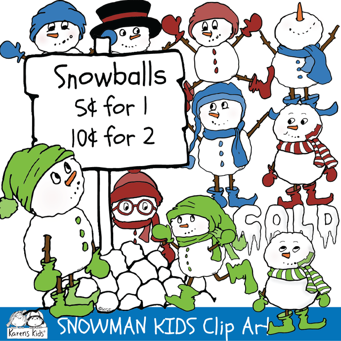 Clip Art samples from  Karen's Kids full color SNOWMAN KIDS clipart set.
