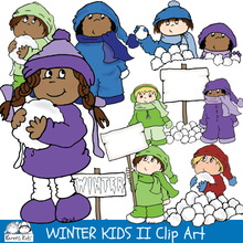 Load image into Gallery viewer, Clip Art WINTER KIDS Set 2