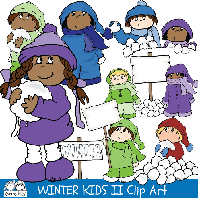 Clip Art WINTER KIDS Set 2
