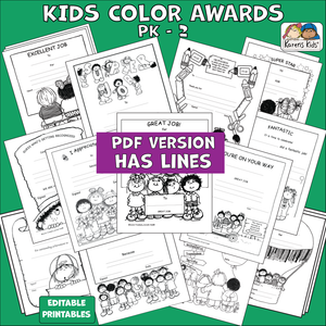 Samples of color-in awards for kids.