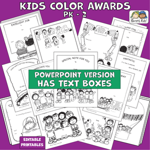 Multiple samples of black and white color-it-yourself awards for kids.