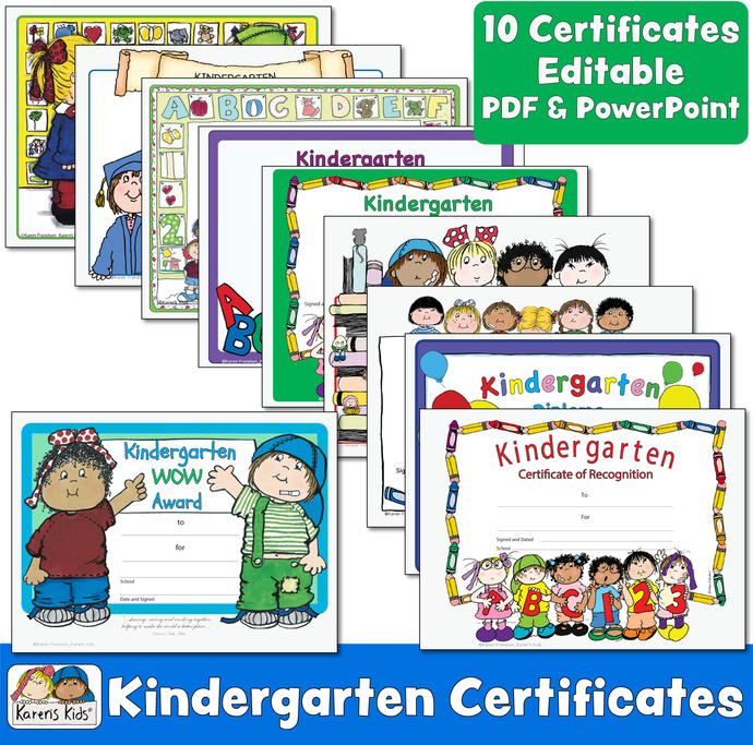 Kindergarten certificates in full color. 10 PDF editable designs.