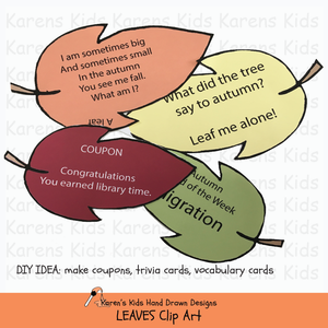 Clip art of leaves sample for bulletin boards and activities