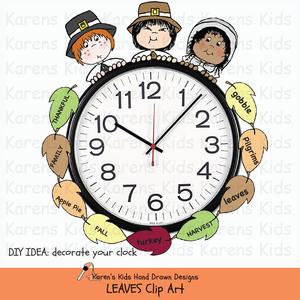 Clip art of leaves sample for clock decorations