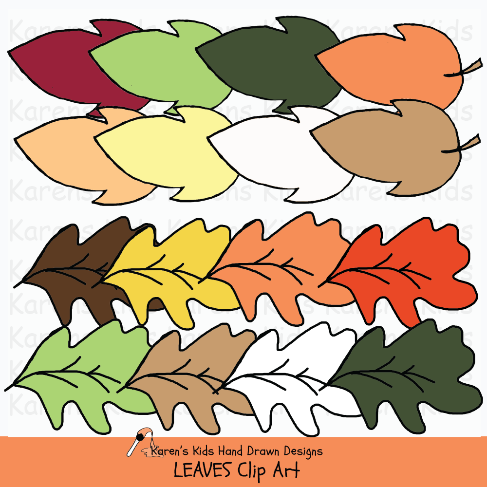 Clip art of leaves for bulletin boards and activities