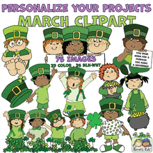 Load image into Gallery viewer, Leprechauns and March clipart samples in color.