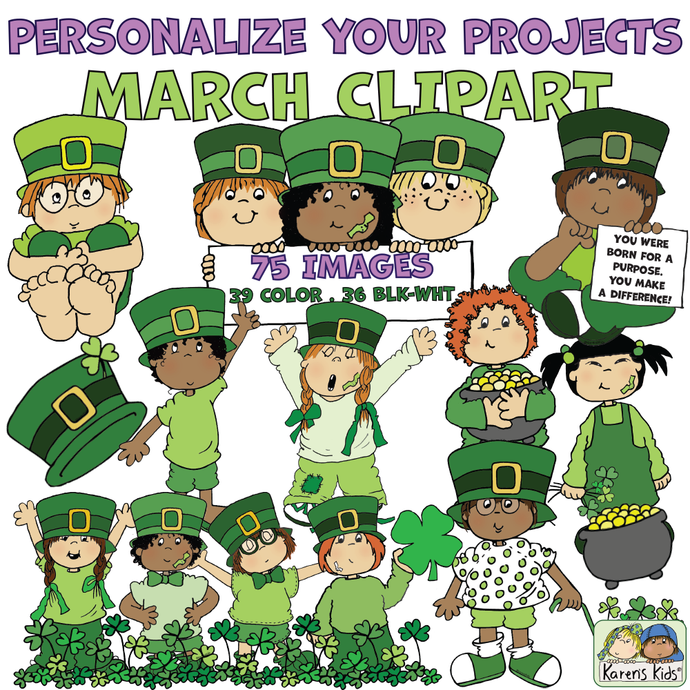 Leprechauns and March clipart samples in color.