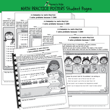 Load image into Gallery viewer, BULLETIN BOARD Math Practice Posters student journal samples.