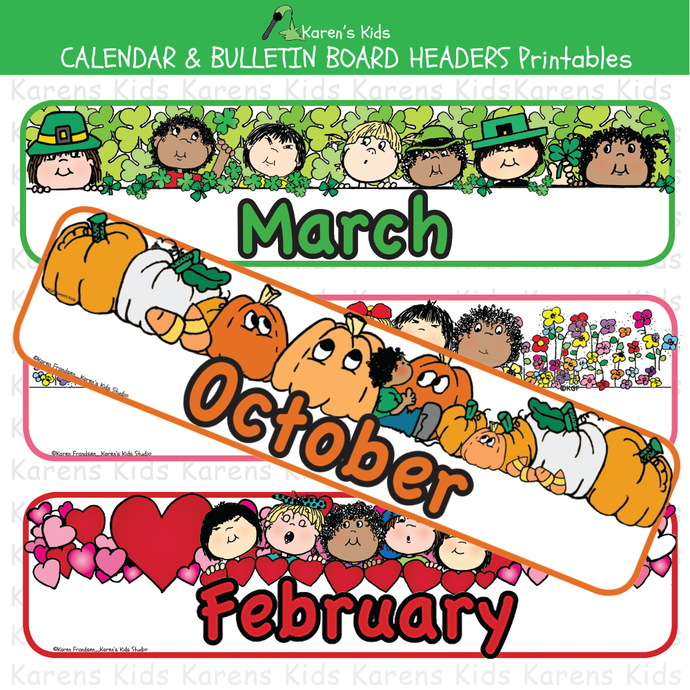Calendar and bulletin board monthly headers