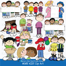 Load image into Gallery viewer, Samples of full color clip art of children: kids holding blank signs, kids raising their hands, eating snacks and performing.