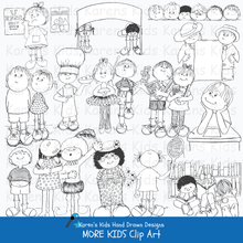 Load image into Gallery viewer, Samples of black and white clip art of children: kids holding blank signs, kids raising their hands, eating snacks and performing.