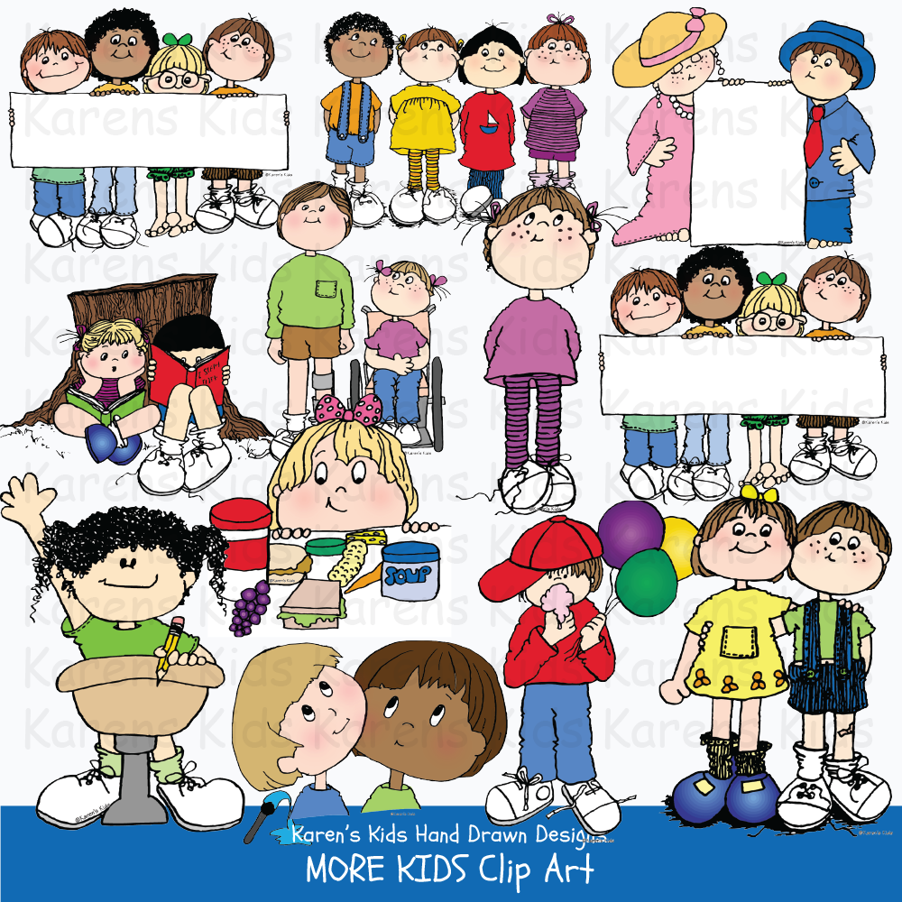 Samples of full color clip art of children: kids holding blank signs, kids raising their hands, eating snacks and performing.