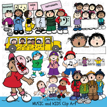 Load image into Gallery viewer, Music clip art samples in full color: music bus, singing kids group, kids holding music symbol cards and bars of music.