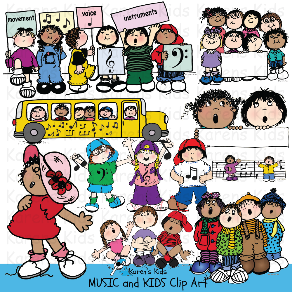 Music clip art samples in full color: music bus, singing kids group, kids holding music symbol cards and bars of music.