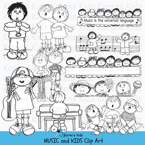 Music clip art in black and white.