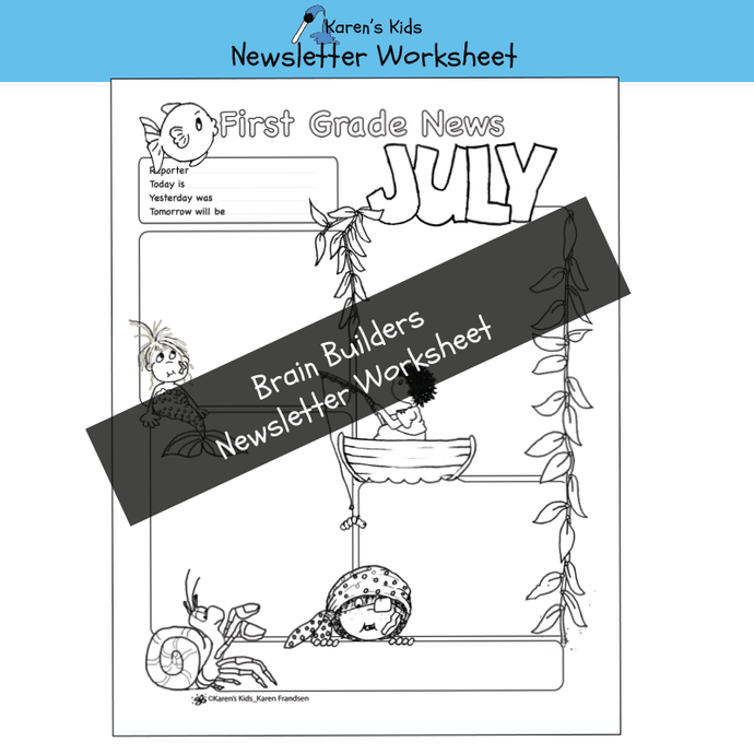 Free JULY NEWSLETTER WORKSHEET Printable