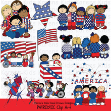 Load image into Gallery viewer, Samples of Patriotic Kids clipart; stars, kids holding a flag, kids dressed in red, white and blue, and marching kids.