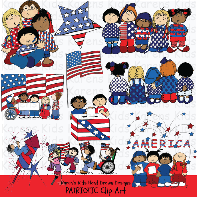 Clip Art Patriotic Kids