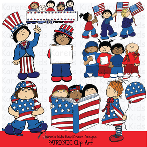 Samples of Patriotic Kids clipart; stars, kids holding a flag, kids dressed in red, white and blue, and marching kids.