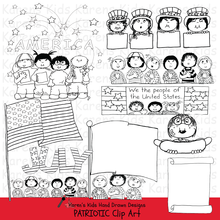 Load image into Gallery viewer, Samples of Patriotic Kids clipart in black and white; stars, kids holding a flag, and marching kids.