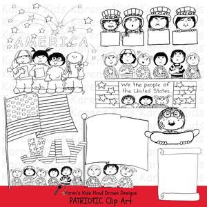 Samples of Patriotic Kids clipart in black and white; stars, kids holding a flag, and marching kids.