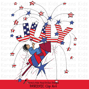 Samples from Karen's Kids Patriotic Kids clipart with a  child sitting on a rocket, a big JULY and exploding stars.