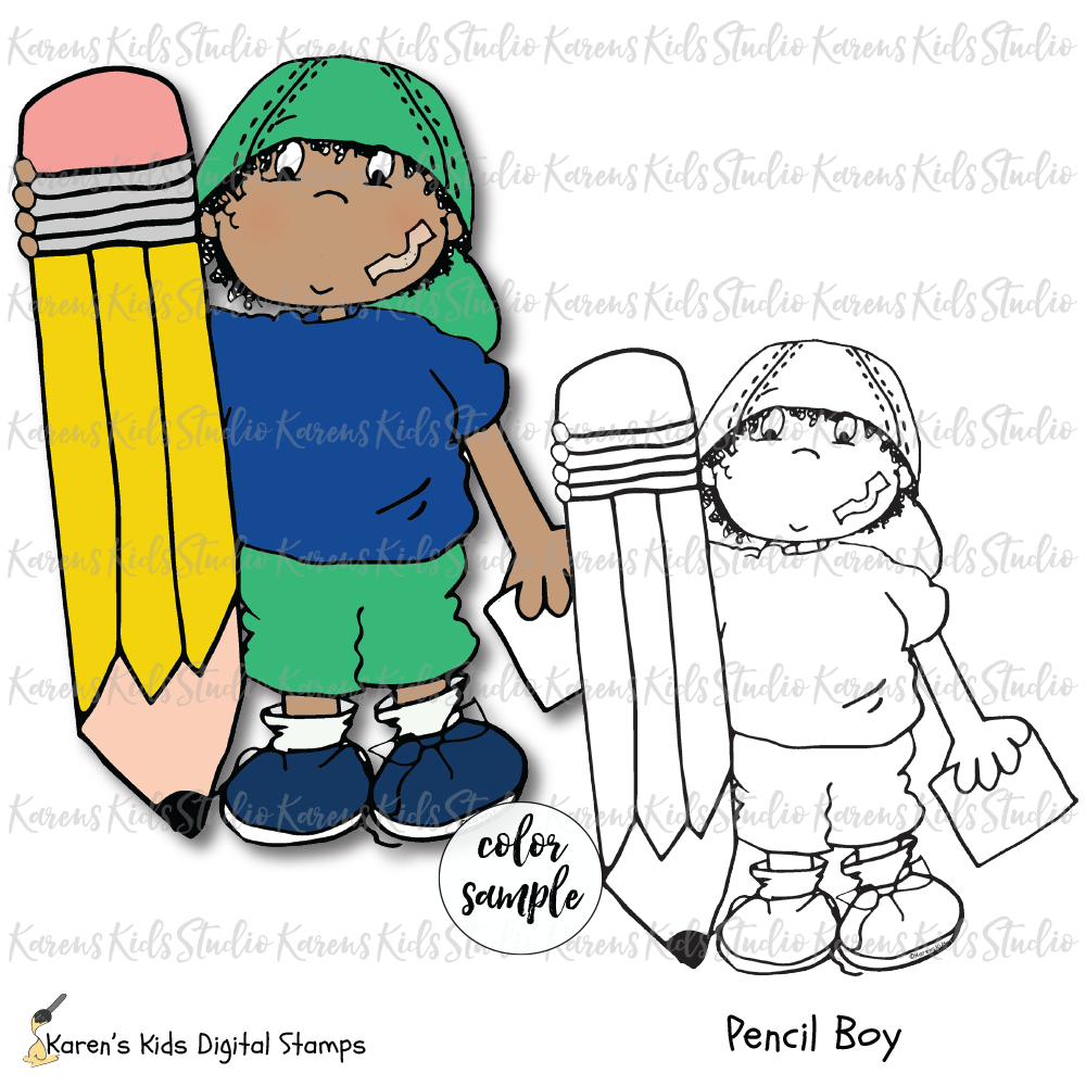 Digital Stamp Pencil Boy