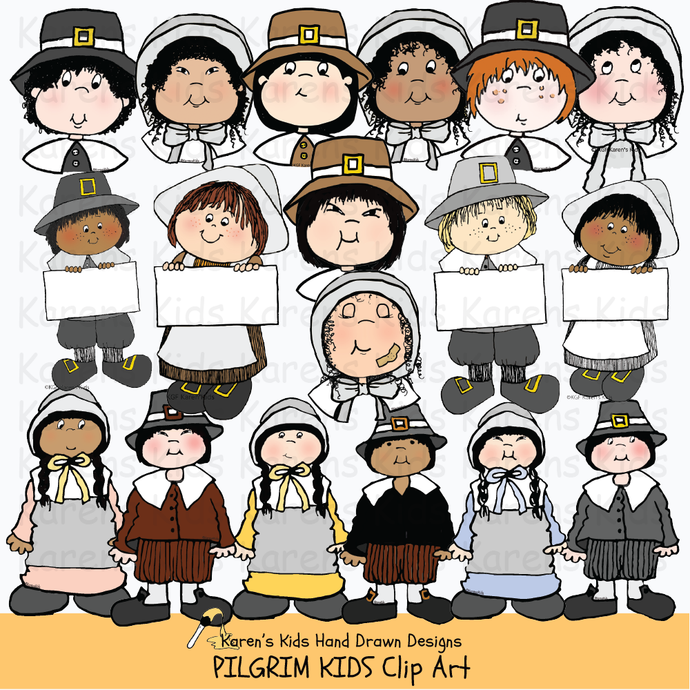 Clip art of Pilgrim children
