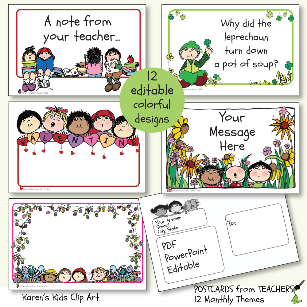 Postcards from Teachers 2_Editable Ready to Print (New product introductory price)