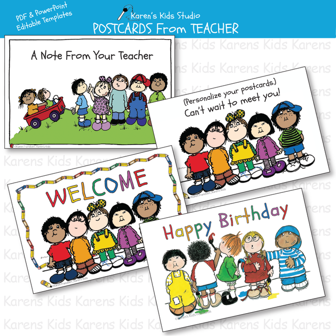 POSTCARDS FROM TEACHER Editable Printables
