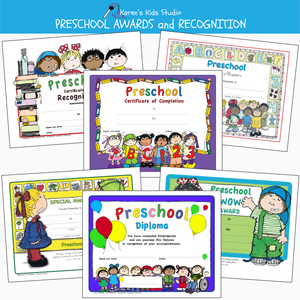 Samples of colorful preschool awards including: certificate of completion, preschool diploma, preschool special award and more.