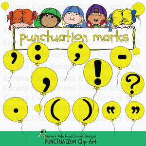 Punctuation clip art samples in full color from Karen's Kids.