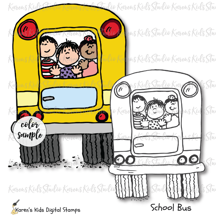 Digital Stamp Riding the School Bus
