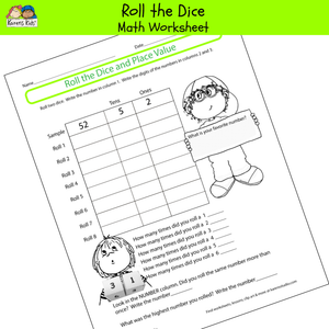 Free ROLL THE DICE MATH Worksheet Printable