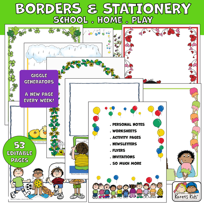 School Home Play Stationery Borders (Karen's Kids Editable Printables)