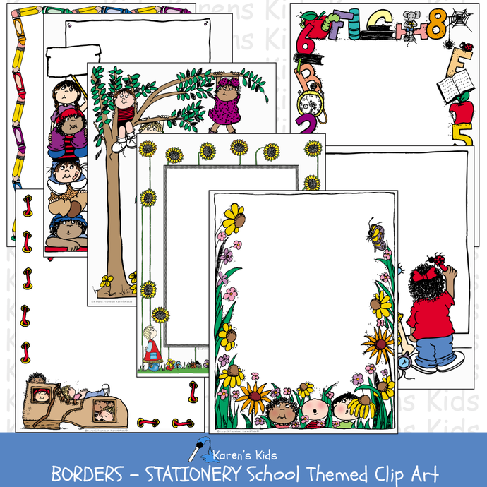 Samples of colorful BORDERS; All Occasion School Themed Borders (Karen's Kids Clip Art)