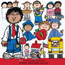 Load image into Gallery viewer, Full color clip art samples of kids at school from Karen's Kids School Days clipart set.