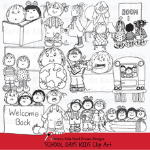 Load image into Gallery viewer, Black and white clip art samples of kids at school from Karen's Kids School Days clipart set.