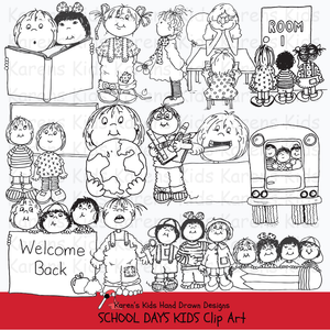 Black and white clip art samples of kids at school from Karen's Kids School Days clipart set.