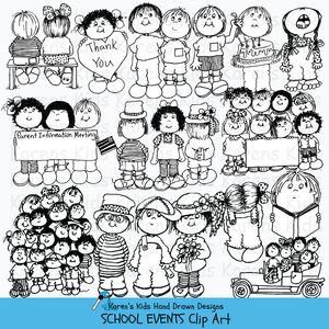 Clip art of school events and celebrations in black and white.