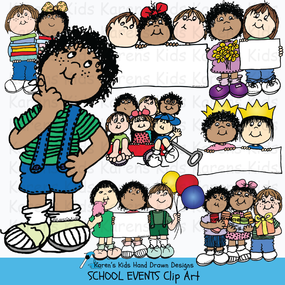 Clip art samples of school events, kids and celebrations in full color from Karen's Kids School Events clipart set.