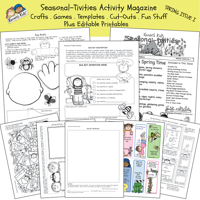 Mostly black and white sample of Spring activity kit: spider activity, springtime poems, colored bookmarks and more