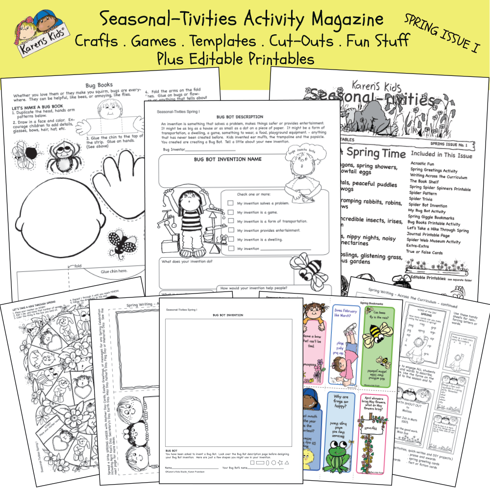 Samples of Spring activity worksheets; science, invention, writing.
